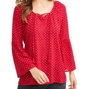 NWT Plus Size 1X Classic Red Lace Up Blouse